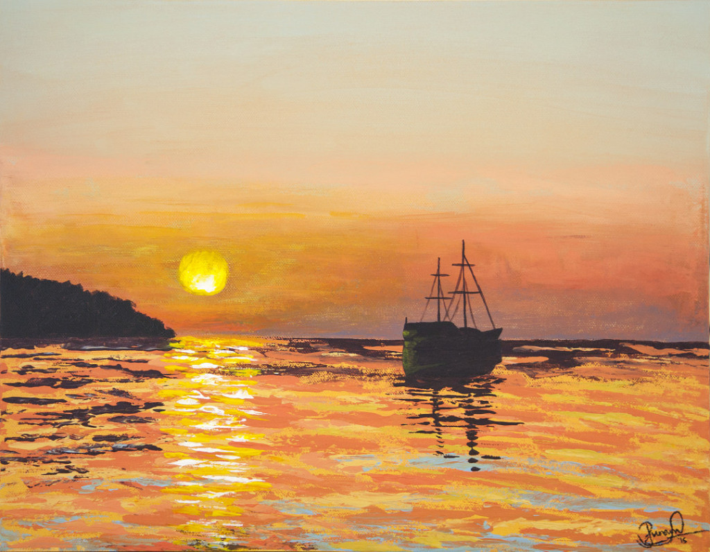 Boat at sunset landscape painting