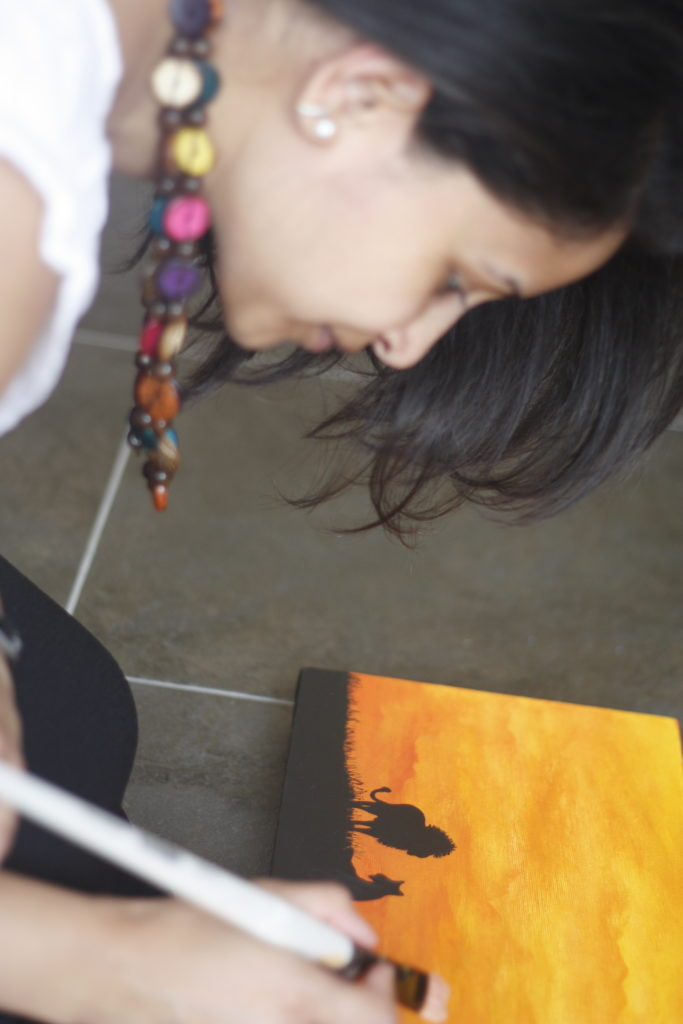 The artist, Punam Sanghrajka, at work