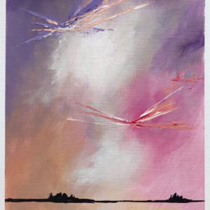 painting of pink and purple sky