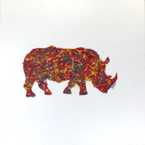 rhino painting inspired by Jackson Pollock