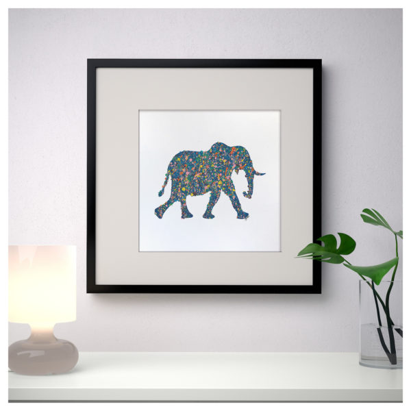 Modern painting of elephant in a Jackson Pollock style