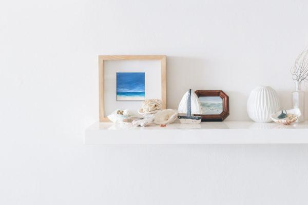 tropical beach painting on canvas on shelf