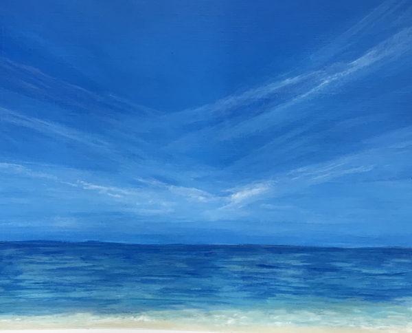 blue beach scene acrylic painting on paper