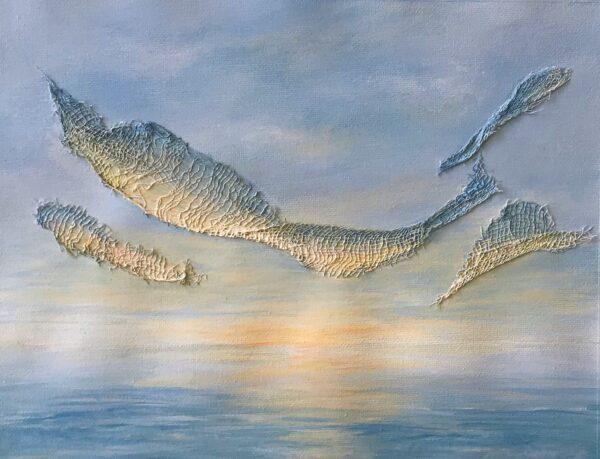 sunset textured acrylic painting on canvas