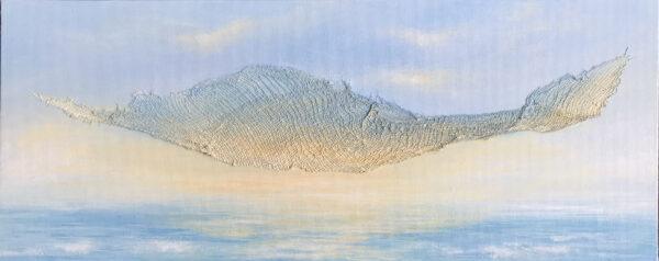 textured sunrise painting on canvas board