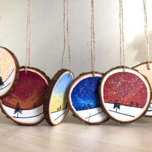 Wooden hand painted baubles