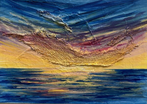 vibrant acrylic sunset painting on canvas board