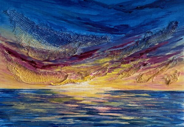 vibrant acrylic sunset painting on paper