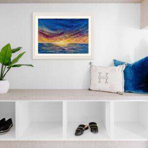 vibrant acrylic sunset painting in a cosy corner