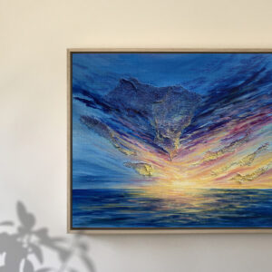 painting in wooden float frame