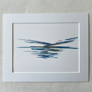 mini ink abstract blue painting on paper