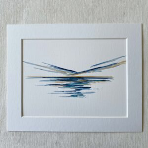 mini ink abstract blue and gold painting on paper