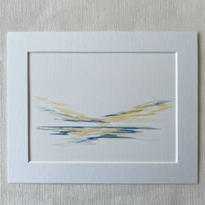mini ink abstract yellow grey painting on paper
